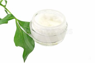 Cream facial bio natural skin care on white background
