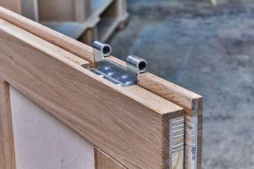 Joinery. Wood door manufacturing process. Door leaf....