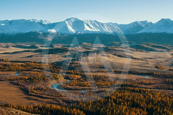 Panoramic view of the Altai-Chuya ridge, Altai mountains,...