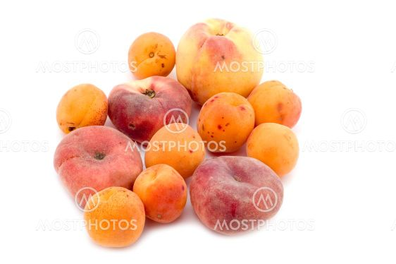 apricot and peach on white