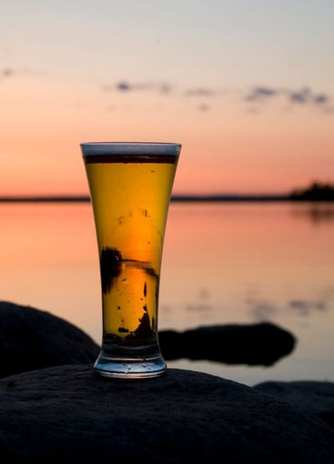 beer in sunset