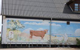 Beautiful wall painting near Vallø Castle near Koege  in...