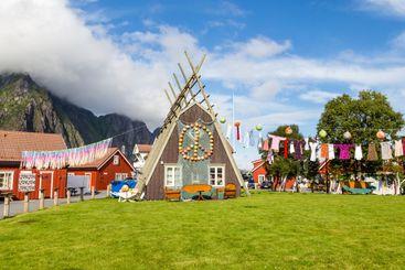 Decorated rorbu or fishermans house in Svolvaer Lofoten...