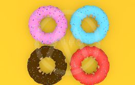 Delicious colorful donuts on a yellow background. 3d...