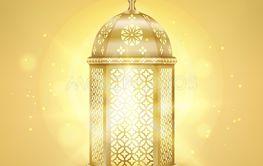 Single realistic gold arabic lantern - Shiny gold...