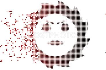 Disintegrating Pixel Halftone Gear Angry Smiley Icon