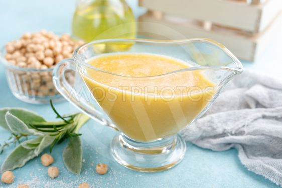 Chickpea sauce, hummus with ingredients for cooking