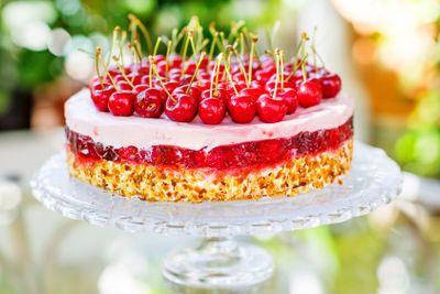 Home made sweet cherry cake.