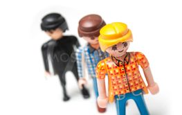 Playmobil figurines on white background
