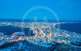 Beautiful landscape and cityscape from Mountain Hakodate...