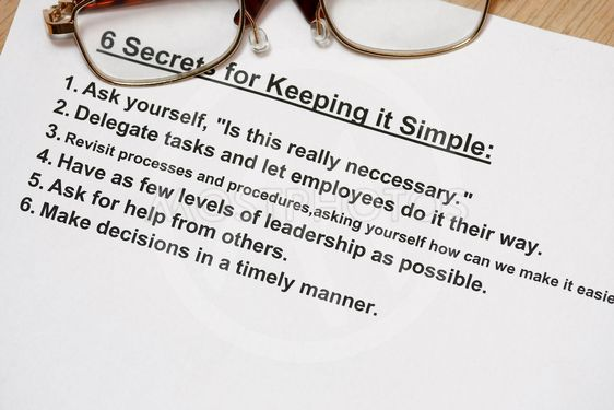 six secret for keeping simple