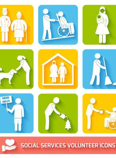 Social services icons set flat
