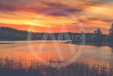 Vivid golden sunset in the archipelago of Scandinavia....