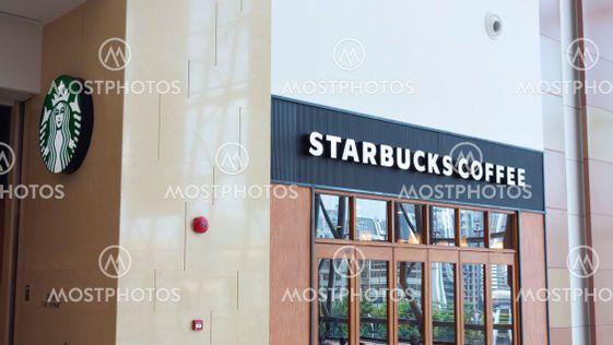 Starbucks coffee sign.