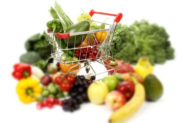 Fruits and vegetables in a shopping cart