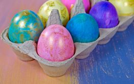 fancy Easter eggs in carton