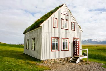 Icelandic traditional house in countryside