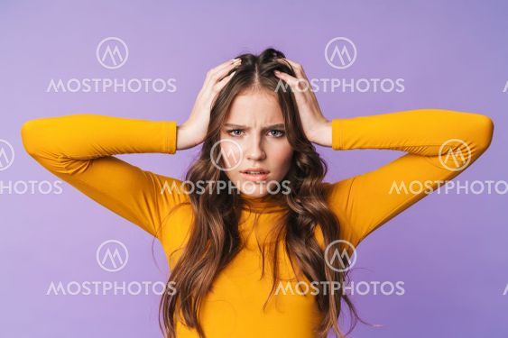 Image of young displeased woman being nervous and...