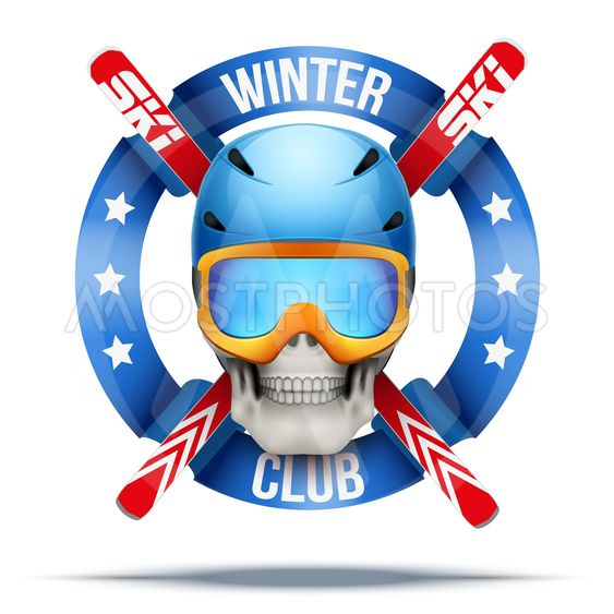 Ski club or team badges and labels logo