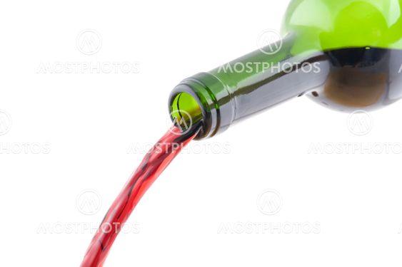 Open wine bottle closeup