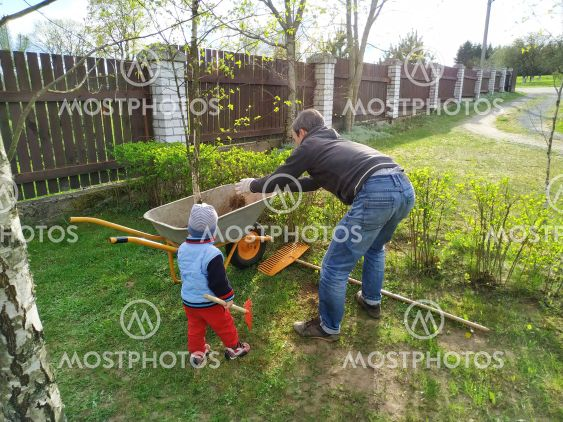 Father and little son work together in a garden with a...