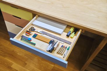 Ready for school. Neat drawer with assorted stationery...