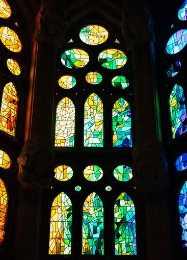 Stained windows from inside the Sagrada Familia in...