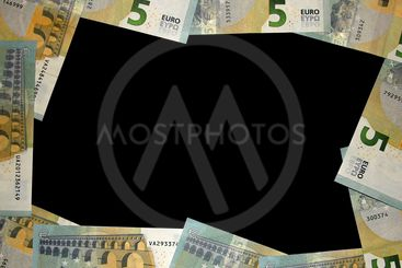 Frame from banknotes of 5 euros on the black background