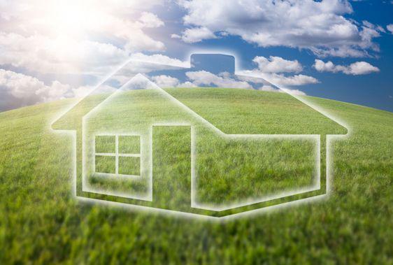 Drømmende hus ikon Over græs felt og himlen
