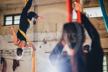 Aerial workshop in abandoned warehouse