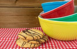 retro mixing bowls with cookies