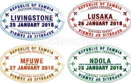 Set of stylised passport stamps for major airports of...