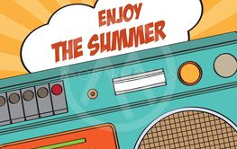 Retro summer poster with boombox