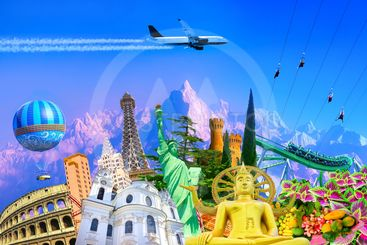 Travel and Tourism with Famous World Landmarks