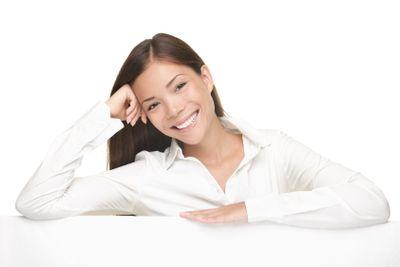 Billboard sign woman smiling friendly