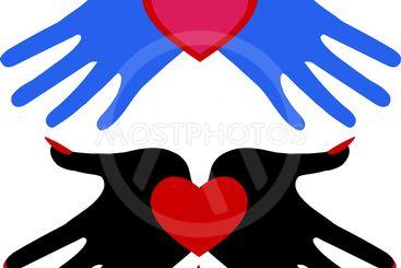Set of hearts. Demonic heart and a romantic heart.
