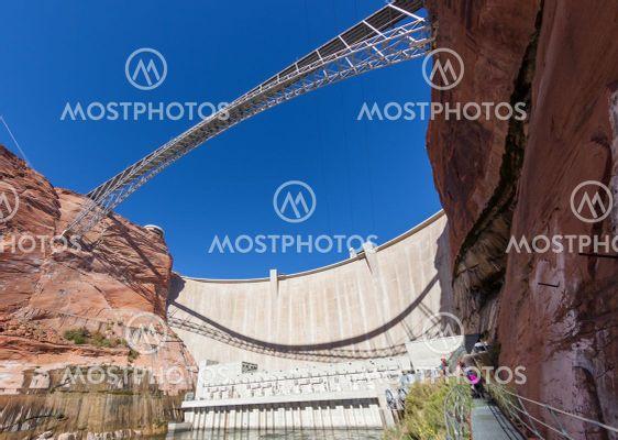 Glen Canyon Dam and Bridge with Tourists