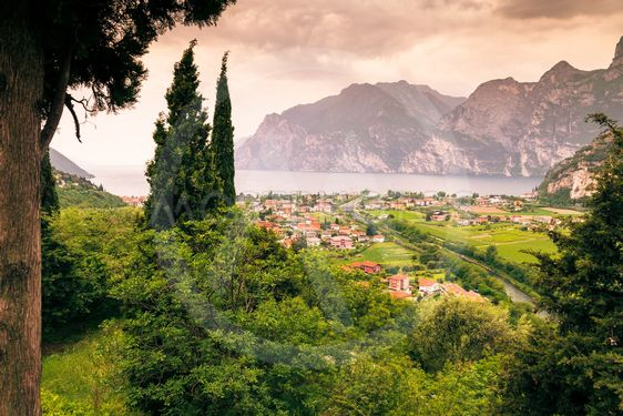 Panorama of Torbole, Lake Garda, Italy.