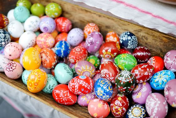 Colorful handmade wooden Easter eggs sold in annual...
