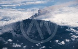 Aerial view of the volcano Mount Etna in Sicily.