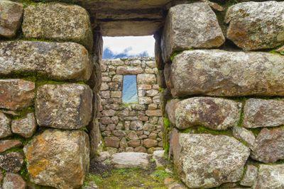 Stone window at Machu Picchu