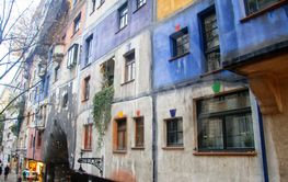 Colorful fassade of Hundertwasser house in Vienna Austria