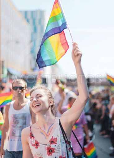 People during the pride parade in Stockholm