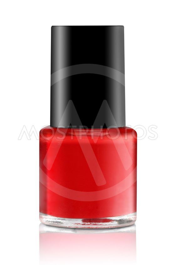 Red nail polish. Isolated on white