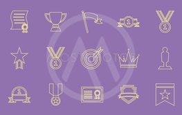 Victory line color icons on purple background
