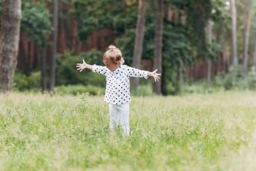 Adorable child, little toddler girl on a beautiful pine...
