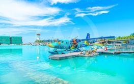MALE, MALDIVES - MAY/20/2019: Seaplane of Trans...