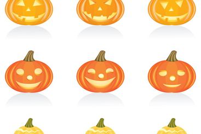 Icon set Halloween pumpkin