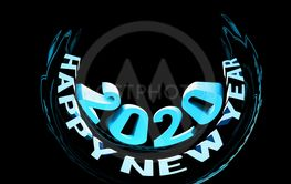 Congratulations on the New Year 2020. Rounded 3D cartoon...