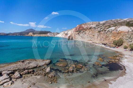 Sea beach in Milos island, Greece, Aegean sea.
